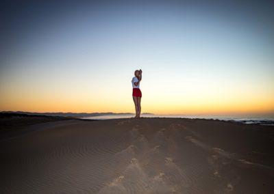 Yoga Gomukasana at sunrise