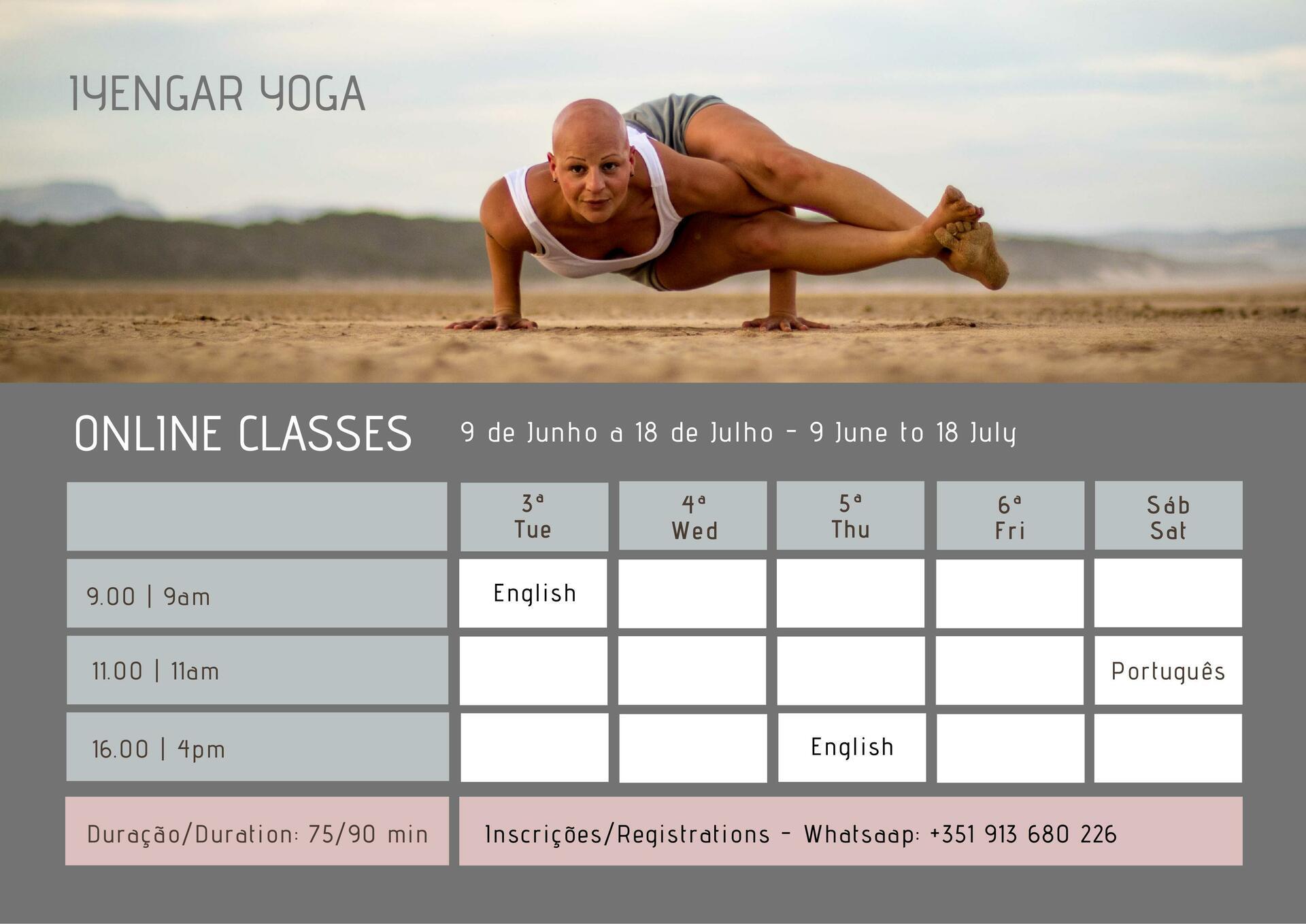 Schedule of online classes via Zoom