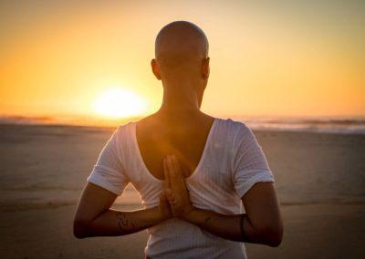 Yoga Paschima Namaskar at sunrise