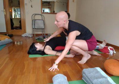 Teaching Yoga Setu bhanda Sarvangasana with props in PazPazes, Vila Nova de Gaia, Portugal