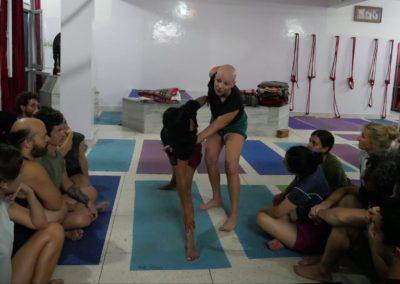 Teaching Yoga Utthita TriKonasana in Rishikesh, India