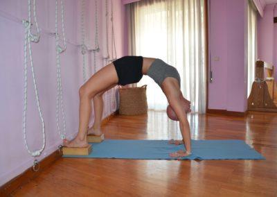 Yoga Urdva Dhanurasana, with bricks under the feet