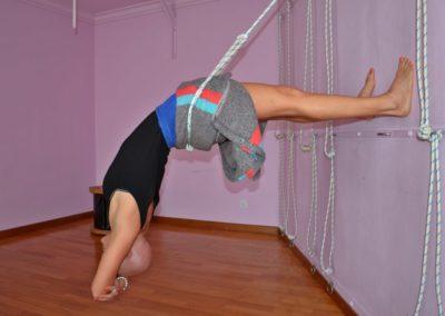 Yoga Viparita Dandasana on the ropes