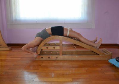Yoga Viparita Dandasana on the bench