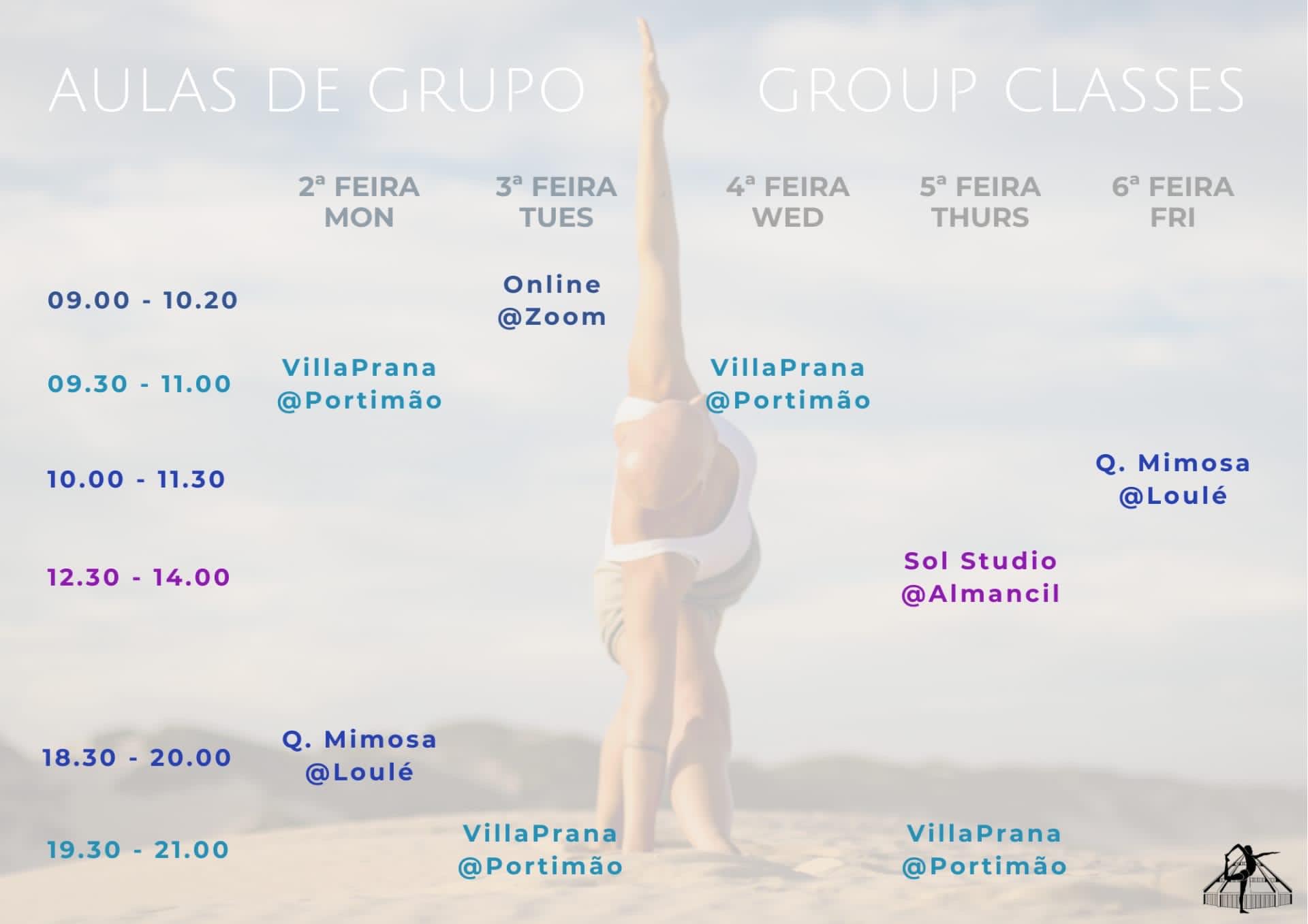 Schedule of yoga classes